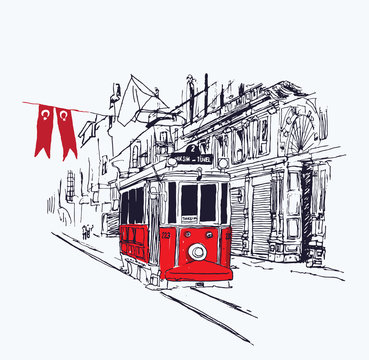 Digital illustration of the nostalgic red tram in Istiklal Avenue, Istanbul