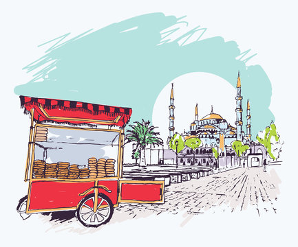 Digital illustration of the Blue Mosque and simit vendor cart in Istanbul