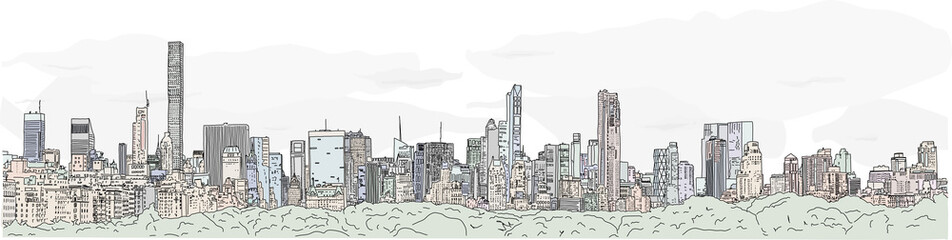 Hand drawn illustration. Color panoramic view of the New York City skyline from the vantage point of the Upper East Side, with all the famous towers.
