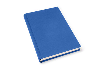 Blue lying hardcover book isolated, perspective view. Cover made of natural linen fabric with uneven rough texture.