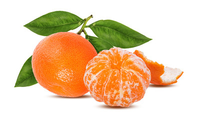 Tangerine mandarin fruit isolated on white background