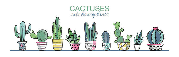Vector set of colorful cactus plants in colored pots with outlines. Exotic and Tropical Plants - Cacti for design isolated on white background. Hand drawn cactus for design. Vector EPS10