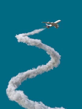 airplane with spiral trail