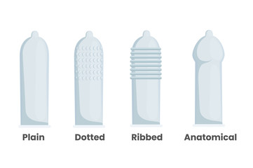 Types of male condoms. Vector illustration of the plain ribbed, dotted and anatomical condoms