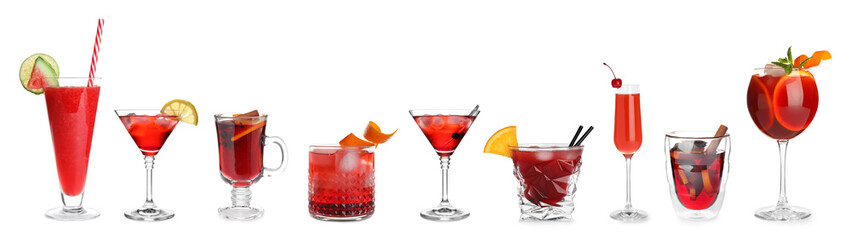 Spoed Foto op Canvas Alcohol Set of different delicious cocktails on white background