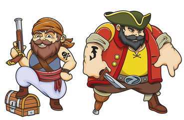 Colored cartoon sea pirates vector illustration set of two