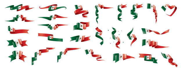 Mexican flag, vector illustration on a white background