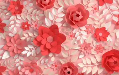 Paper elegant pastel colored flowers. Valentine's day, Easter, Mother's day, wedding card, blooming wall background. 3d render digital spring or summer flowers illustration in paper art style.