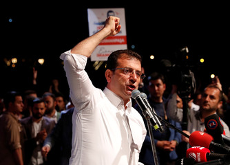 Main opposition CHP's Imamoglu, who was elected mayor after the March 31 elections, addresses his supporters after the YSK decided to re-run the mayoral election, in Istanbul