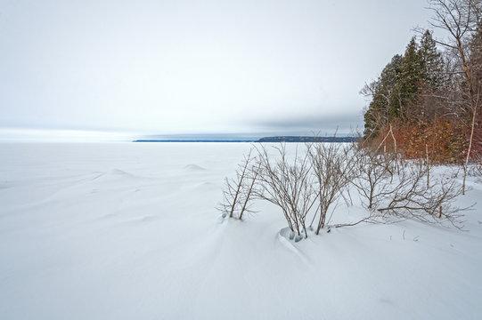 Frozen Lakeshore Panorama in Winter