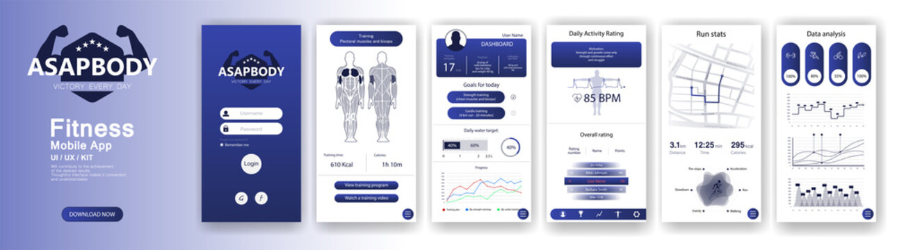 Fitness, GYM UI, UX, GUI screens fitness app and flat web icons for mobile apps, Bodybuilding application design. Mock up Mobile app. Vector template. Dashboard interface design for mobile application