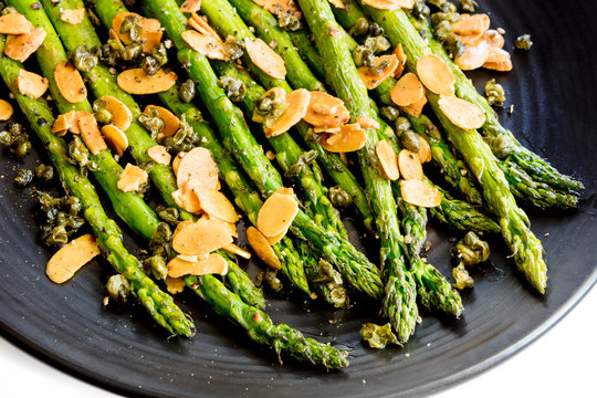 Roasted Asparagus with Toasted Almonds and Capers