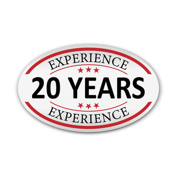 red vector illustration banner label experience 20 years