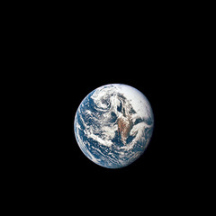 Earth is seen from 36,000 nautical miles away, as photographed from the Apollo 10 spacecraft during its trans-lunar journey toward the moon