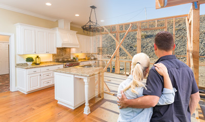 Couple Facing Construction Framing Gradating To Completed Custom Kitchen
