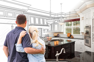 Couple Facing Custom Kitchen Drawing Gradating To Photo
