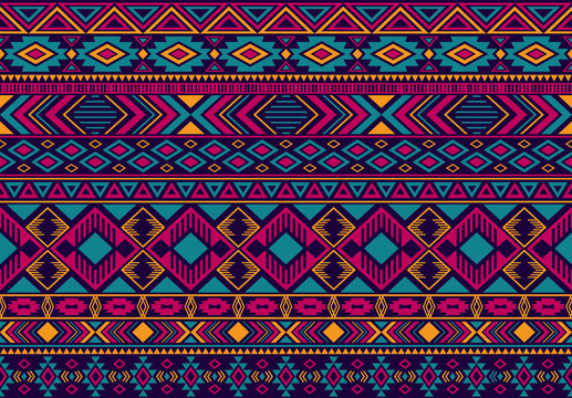 Boho pattern tribal ethnic motifs geometric seamless vector background. Rich indian tribal motifs clothing fabric textile print traditional design with triangle and rhombus shapes.