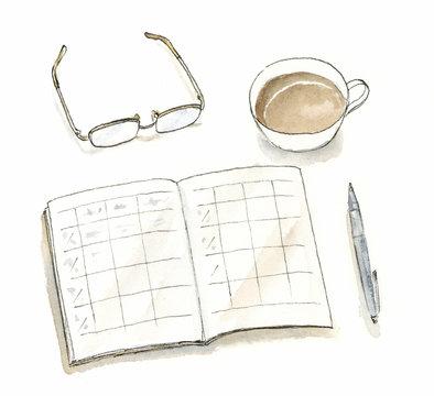 記録する コーヒー 眼鏡 水彩イラスト