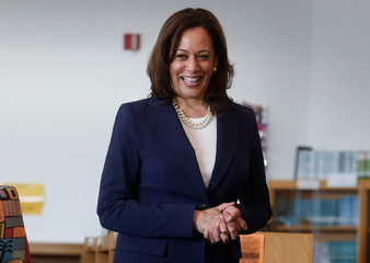 U.S. Senator Kamala Harris prepares to read a story book about Kindness to students at Miller Elementary School in Dearborn,