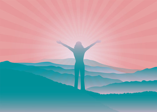Girl with hands up on the top of mountain. Woman silhouette with raised arms. Vector illustration. Blue Ridge Mountains, North Carolina, USA.