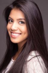 Head shot portrait of beautiful asian girl model smiling