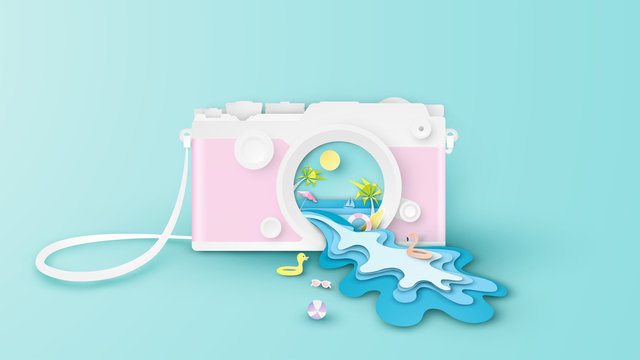 Illustration of creative design sea view inside compact camera lens with the sea waves splash out of the compact camera lens. Graphic design for summer. paper cut and craft style. vector,illustration.