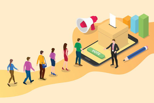 isometric 3d online vote concept with people queued up in line with smartphone voting and box votes - vector