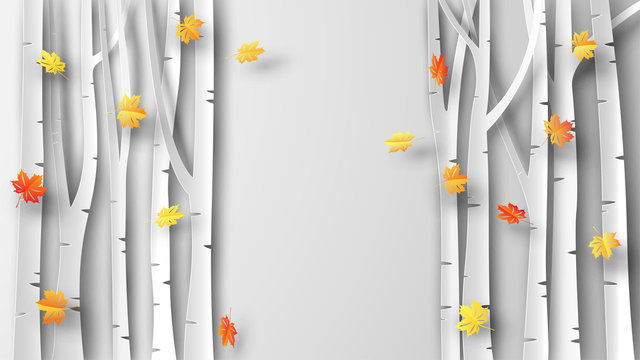Illustration of Autumn with maple leaves are falling in forest. and place for your text space. Maple forest In the fall. paper cut and craft style. vector, illustration.