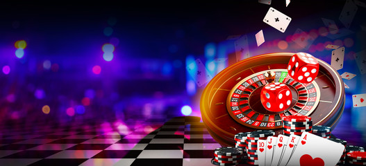 Casino element banner isolation over colorful background, 3D rendering