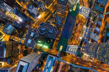 Wall Mural - Aerial view of Hong Kong urban city at night