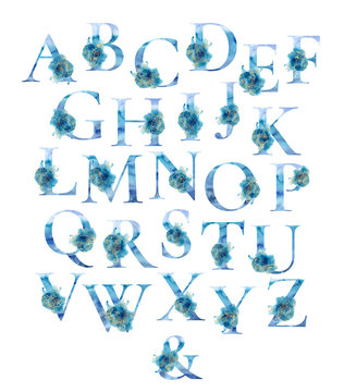 Watercolor marine english alphabet set with gold elements from A to Z hand drawn illustration
