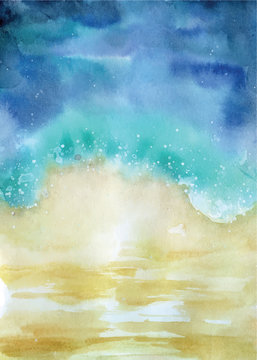 watercolor beach top view abstract seascape illustration