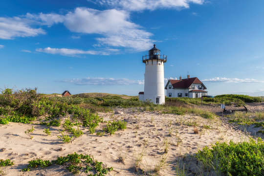 Race Point Light Lighthouse in beach dunes on the beach at Cape Cod, New England, Massachusetts, USA