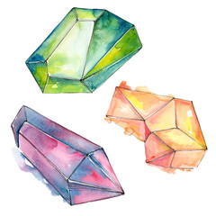 Colorful diamond rock jewelry minerals. Watercolor background set. Isolated crystal illustration element.