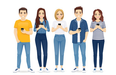 Beautiful young people in casual clothes with gadgets. Students use mobile phones vector illustration isolated