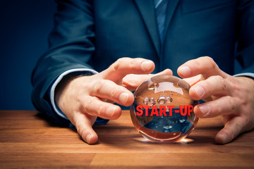 Start-up business prediction concept with crystal ball