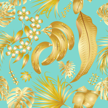 Vector seamless pattern with golden tropical leaves on tiffany blue background.