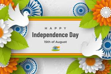 Indian Independence day holiday design. 3d wheels, doves, flowers with leaves in traditional tricolor of indian flag. Paper cut layered art. Vector illustration. Fototapete