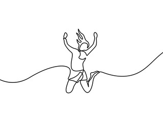 Continuous line drawing Woman jumps for happy. Vector illustration. Wall mural