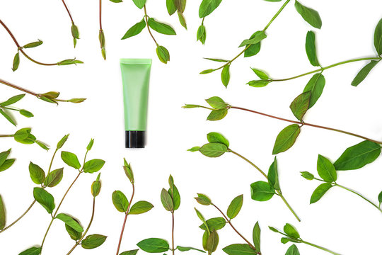 Frame of spring green leaves and jar of cosmetic cream, isolated on white background.
