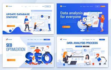 Flat Modern design of website template - Data Analysis