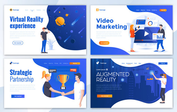 Flat Modern design of website template - Virtual reality