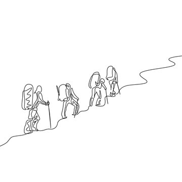 Continuous one line drawing group of four travelers hiking in the mountains
