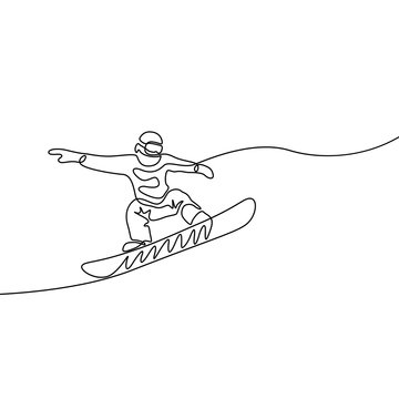Continuous line snowboarder jumps, extreme and winter sport theme