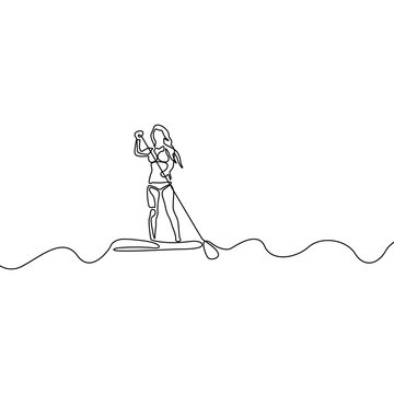 Continuous line woman standing up on paddle board. Vector illustration.