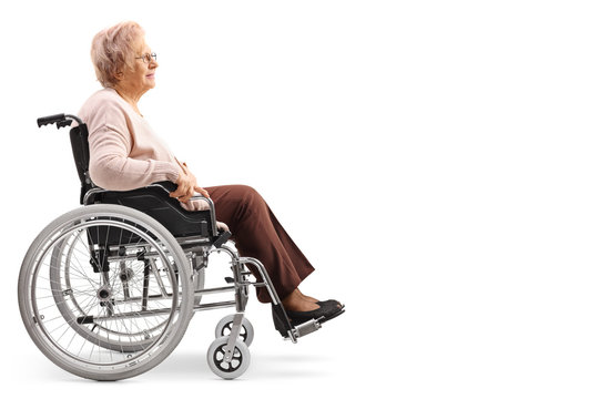 Elderly disabled woman sitting in a wheelchair
