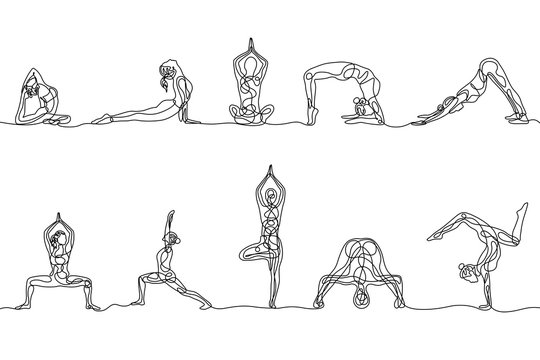 Continuous one line drawing set of woman yoga poses. Vector
