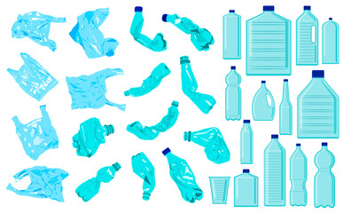 Fototapeta Set of cellophane bags, crumble bottles and plastic bottles. Plastic pollution. Ecology problem obraz