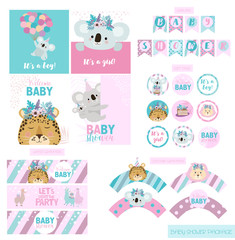 Baby Shower party package collection with fun animals. Festive set of labels, wrappers, flags and cards. Editable vector illustration