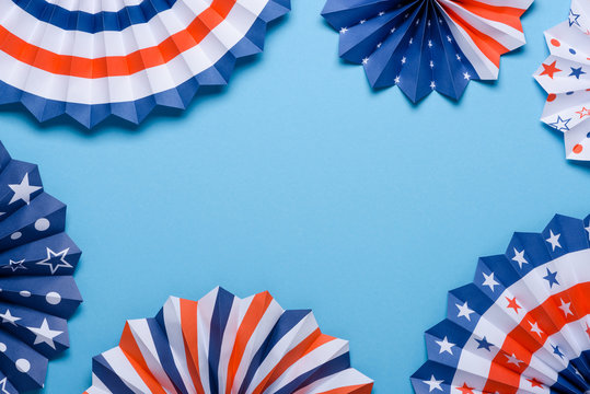 4th of July holiday banner design. USA theme paper fans on blue background. Independence Day lanterns template.